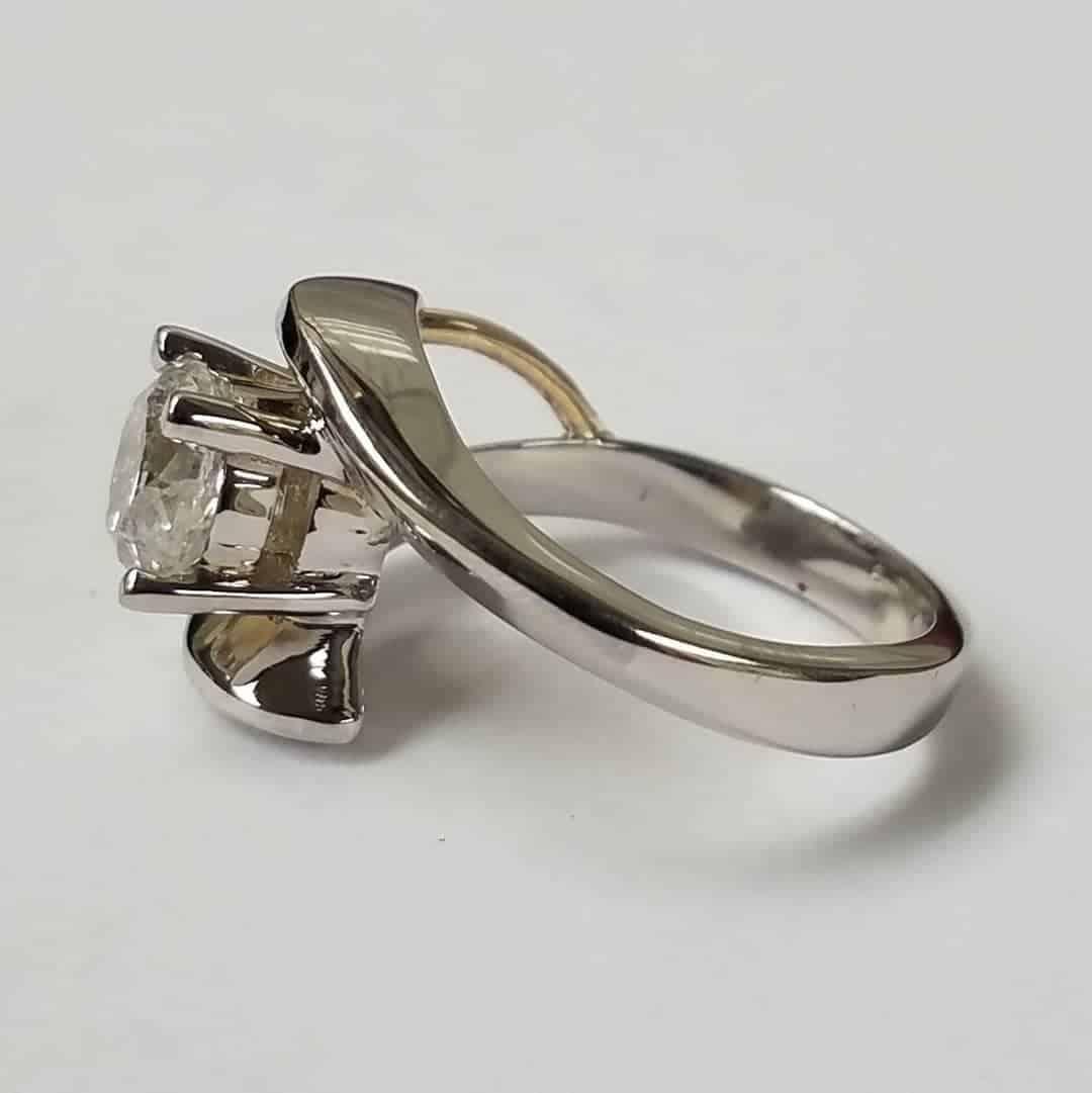 2 Tone Custom Engagement Ring Side