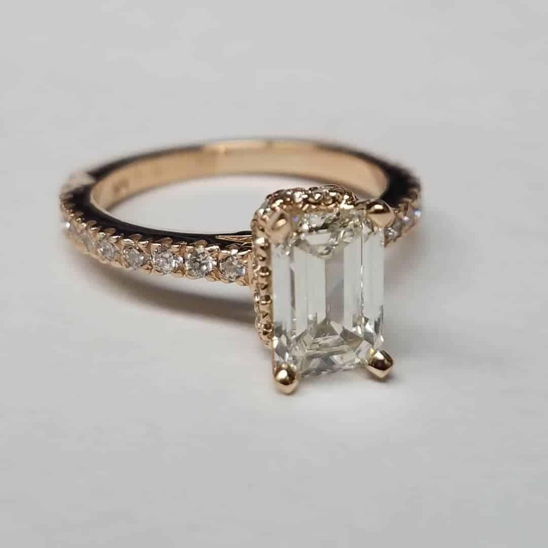 Emerald Cut Diamond Rose Gold Engagement Ring Front